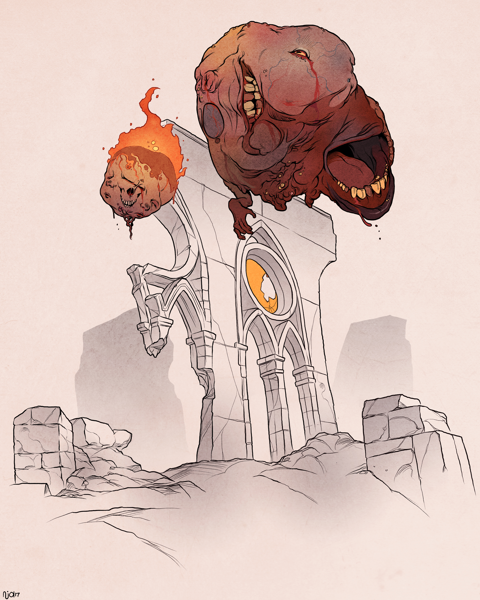 Lost Soul Doom Deviantart: DOOM: Lost Souls & Pain Elemental By Nathanandersonart On
