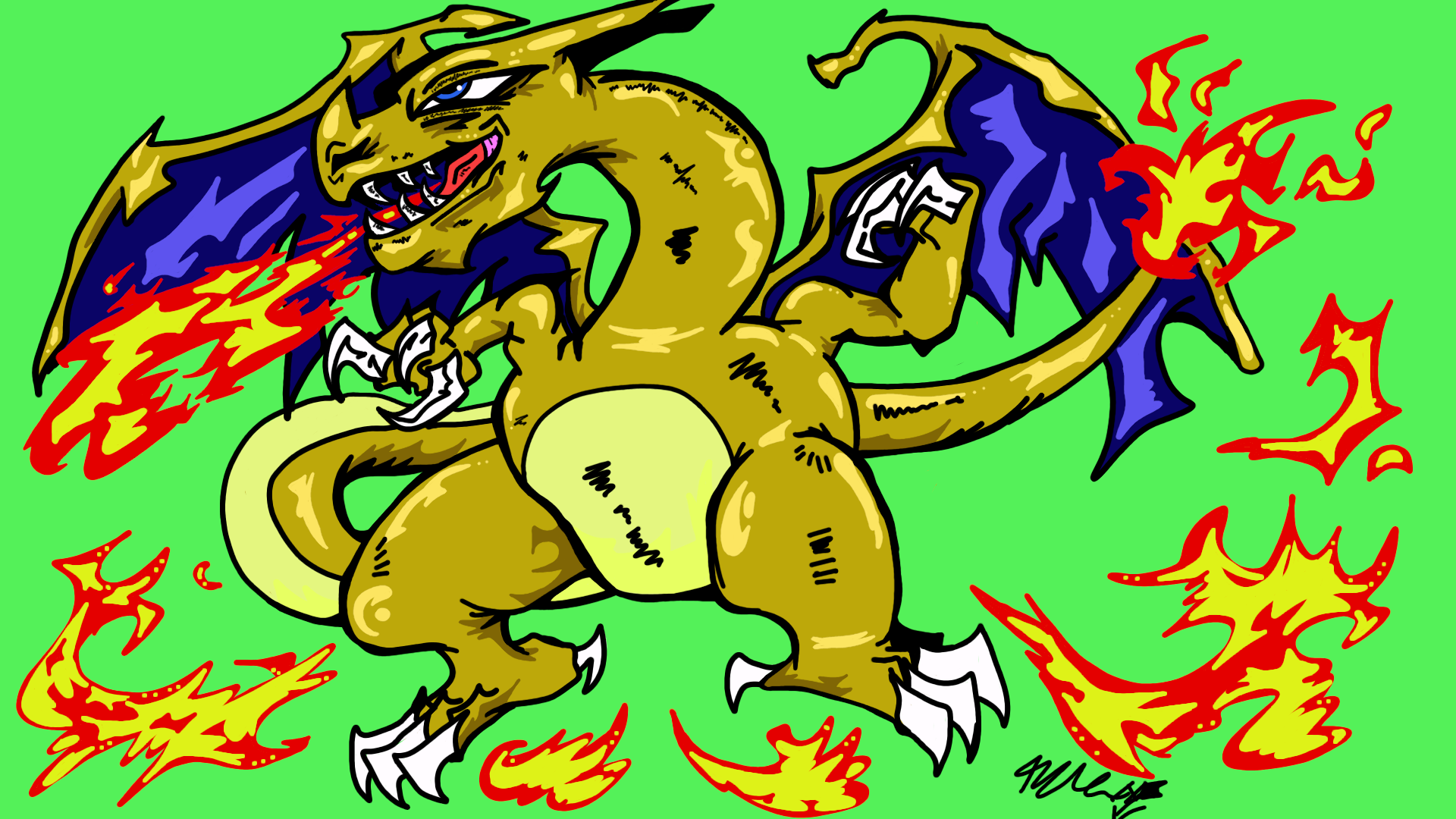 A pissed off charizard