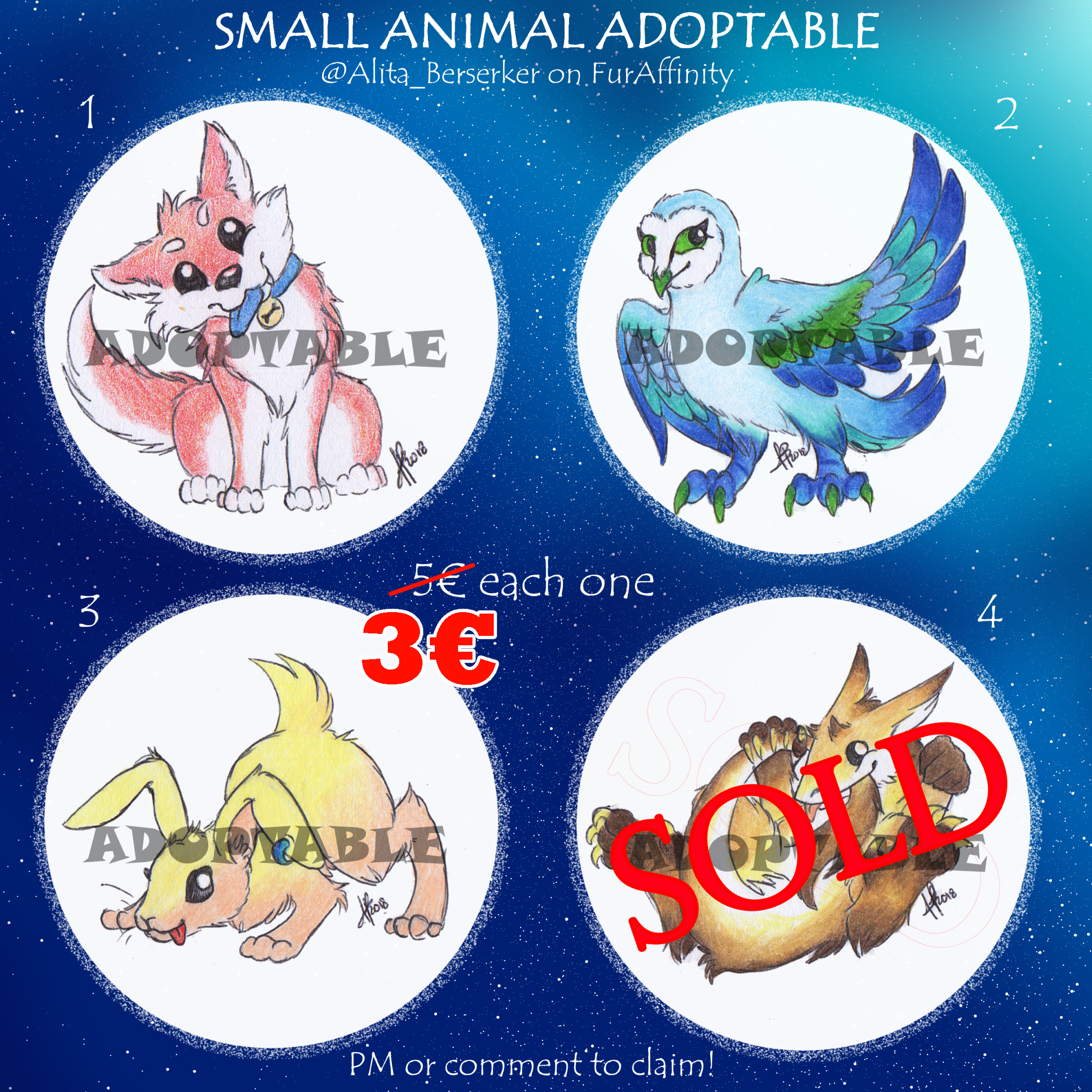 Small Animal Adoptable! - DISCOUNTED! by AlitaBerserker on Newgrounds