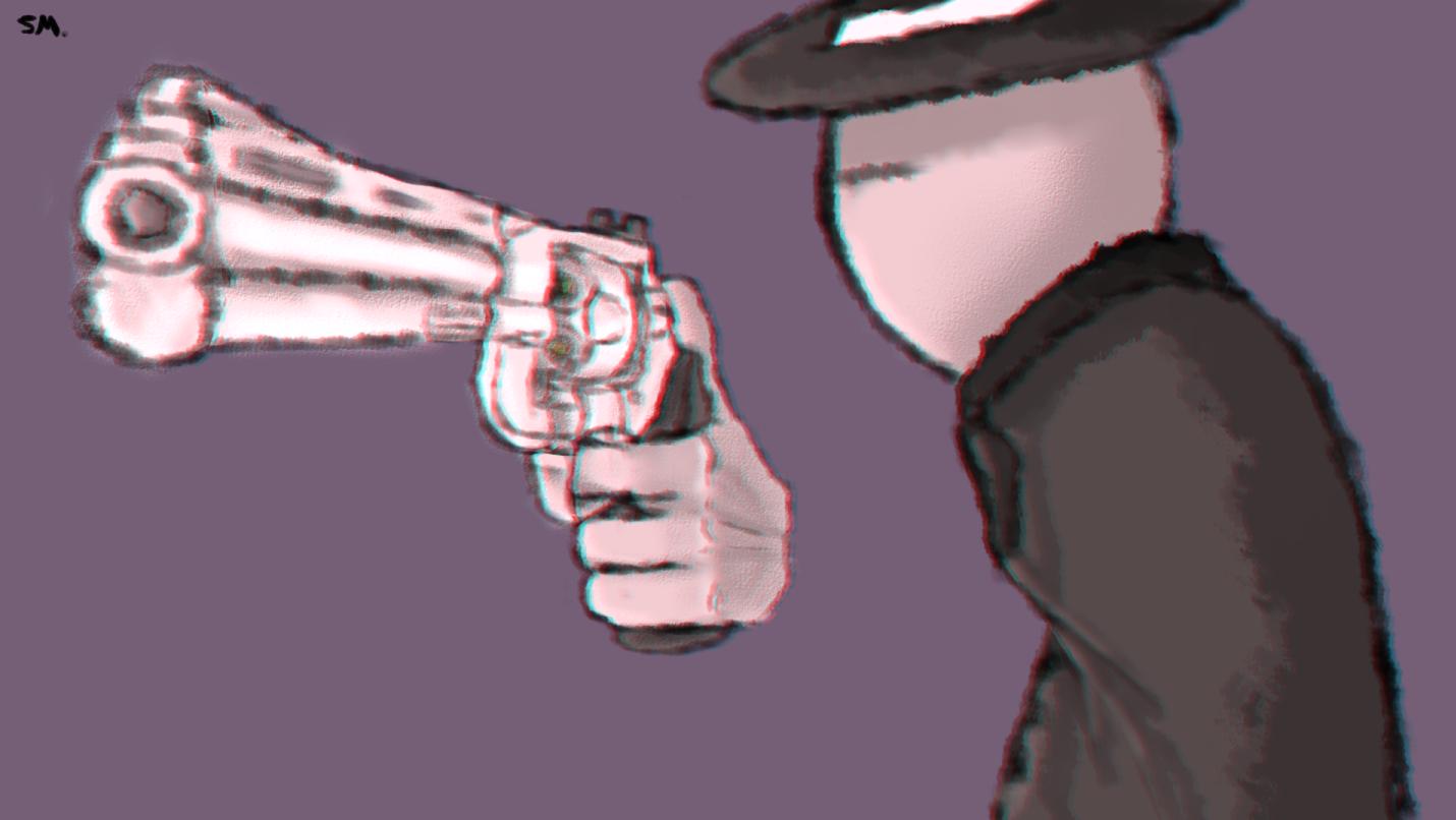 A boy is a gun.