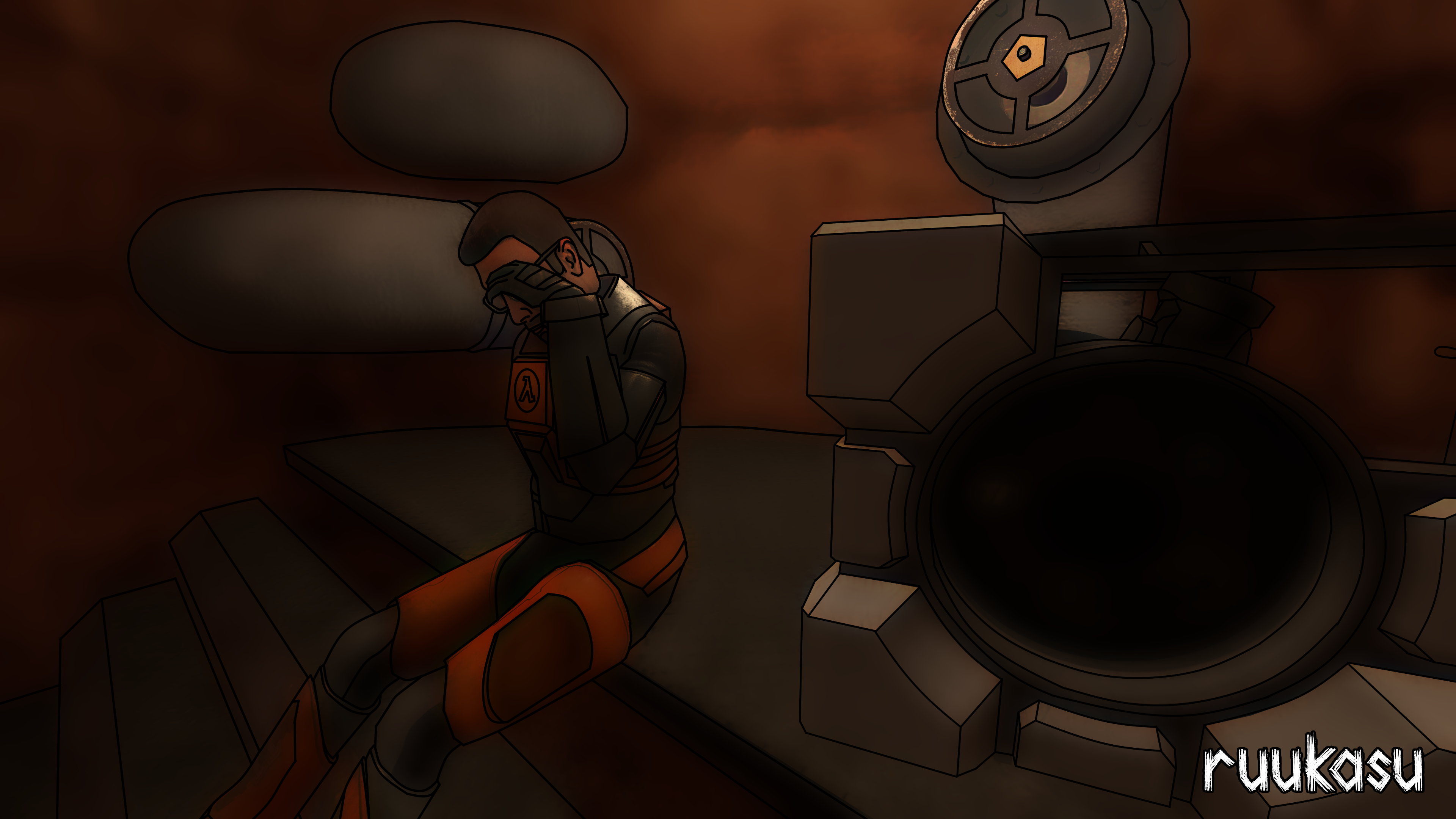 Gordon Freeman With A Cube Concept Art By Ruukasudraw On