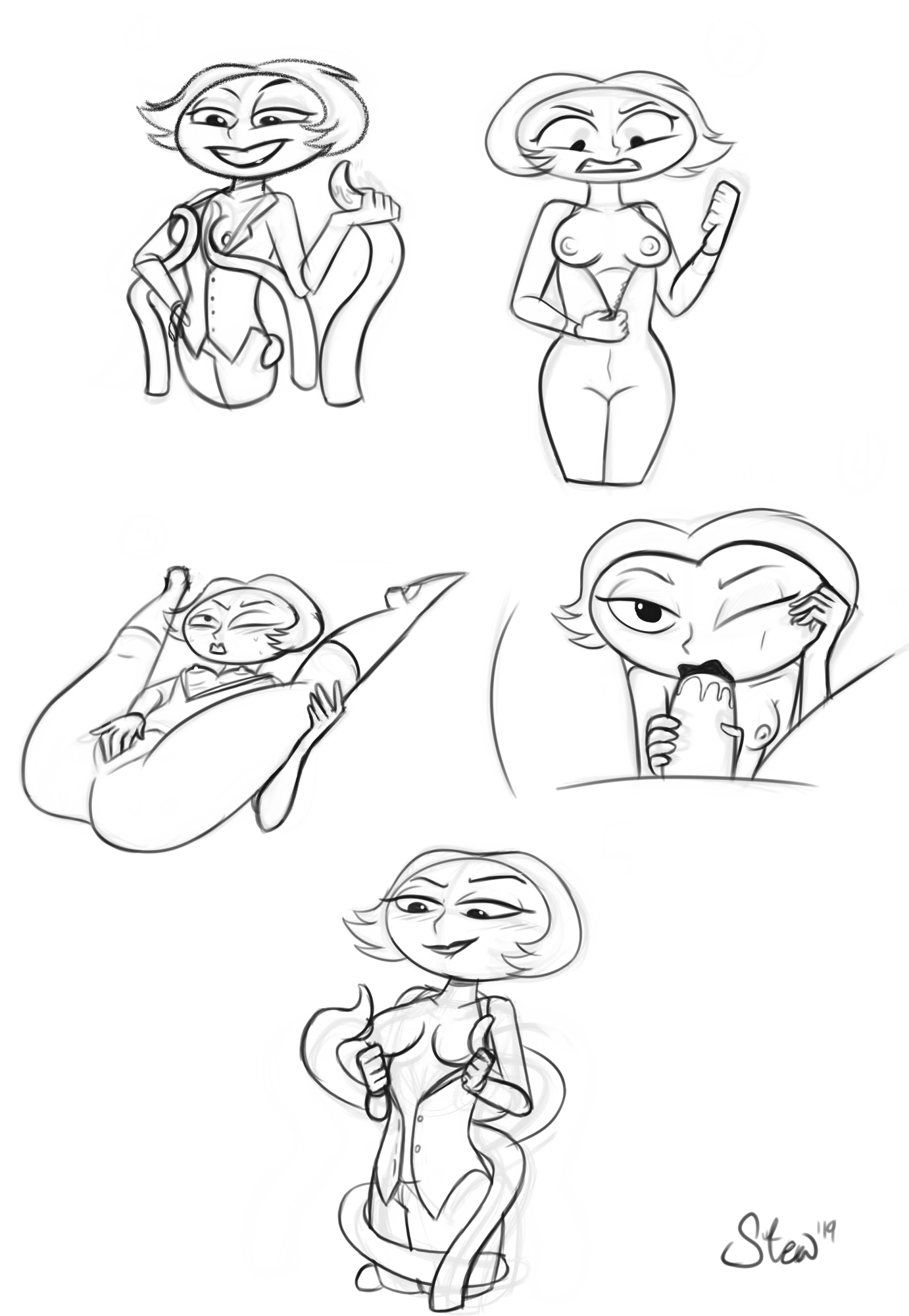 Mrs. X Sketch Page (Commission) by StewsSpicyBlog on