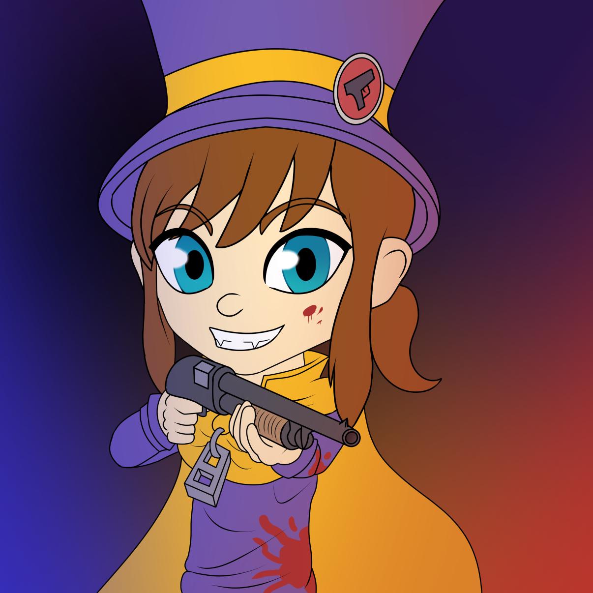 Hat Kid. With a gun.