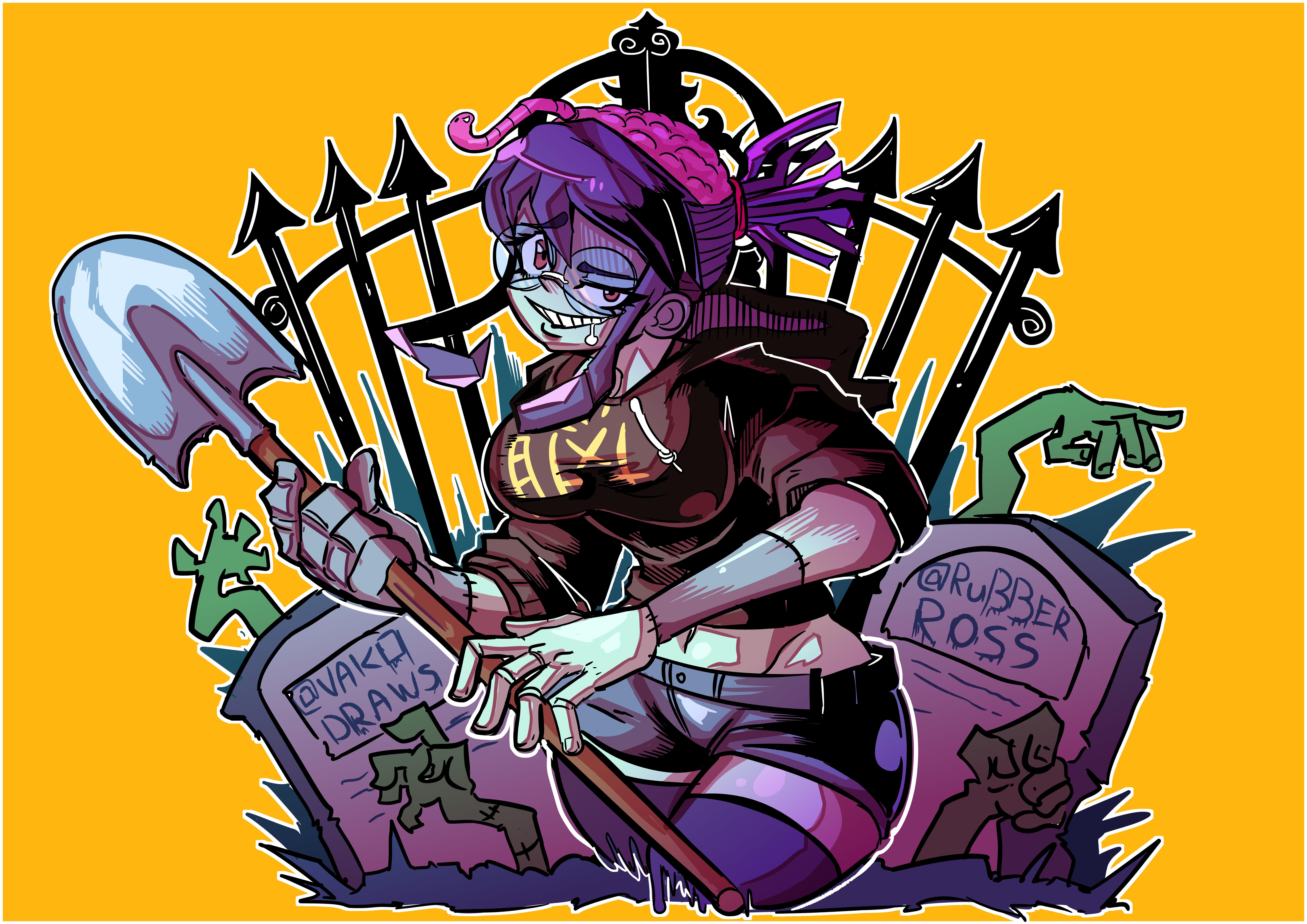 I drew RubberRoss's Zombie girl OC !