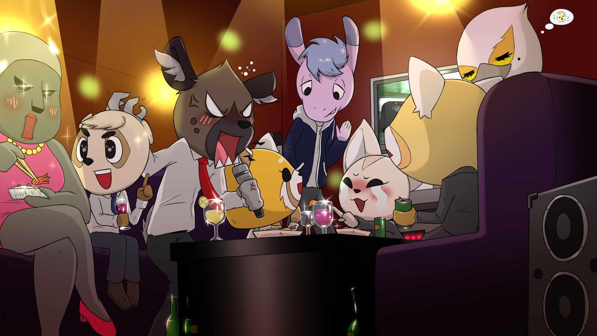A Late Night Karaoke Party (Aggretsuko Season 2) by MicroBihon on
