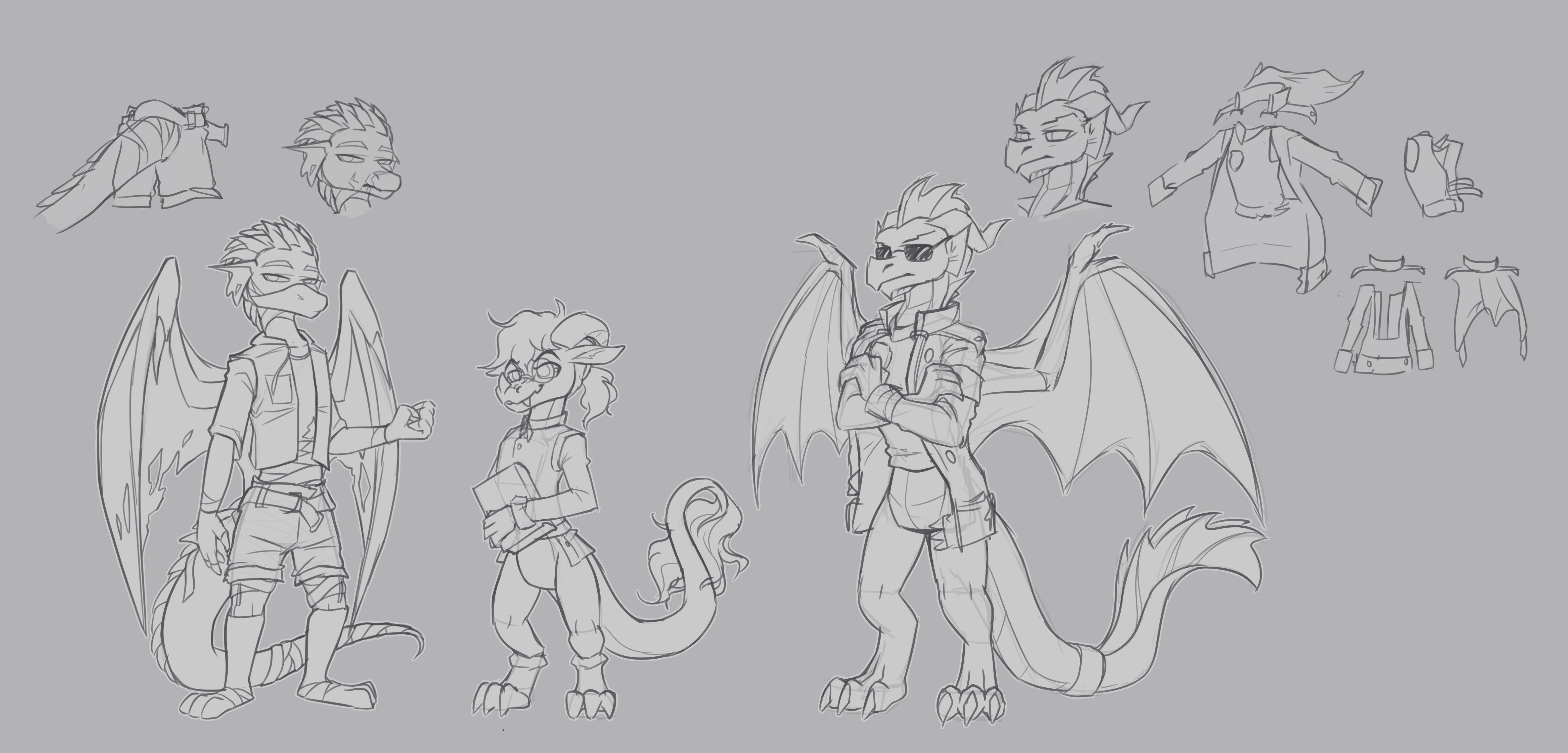 Dragon character sketches 2