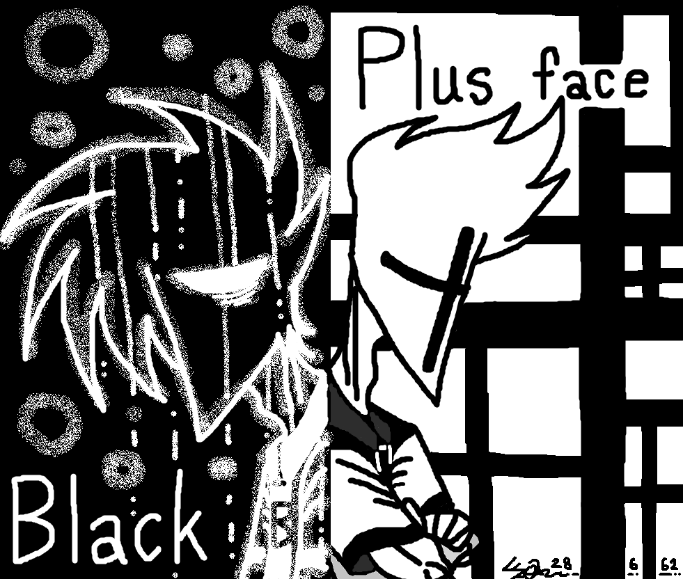 Black and Plus face