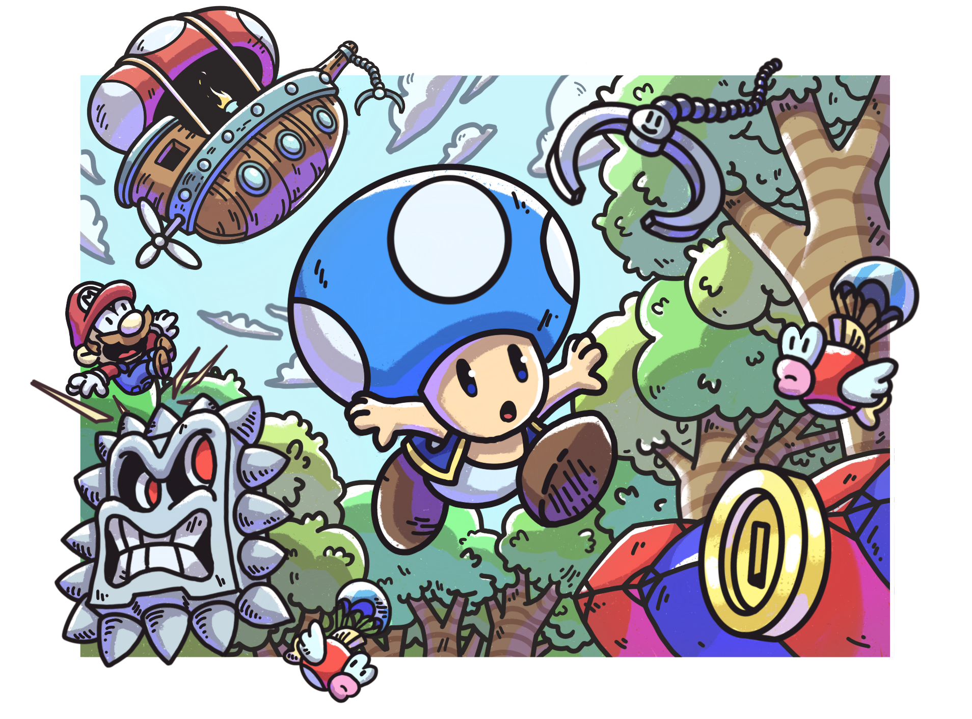 """Toad's Airship Expedition"" MM2 Course Art"