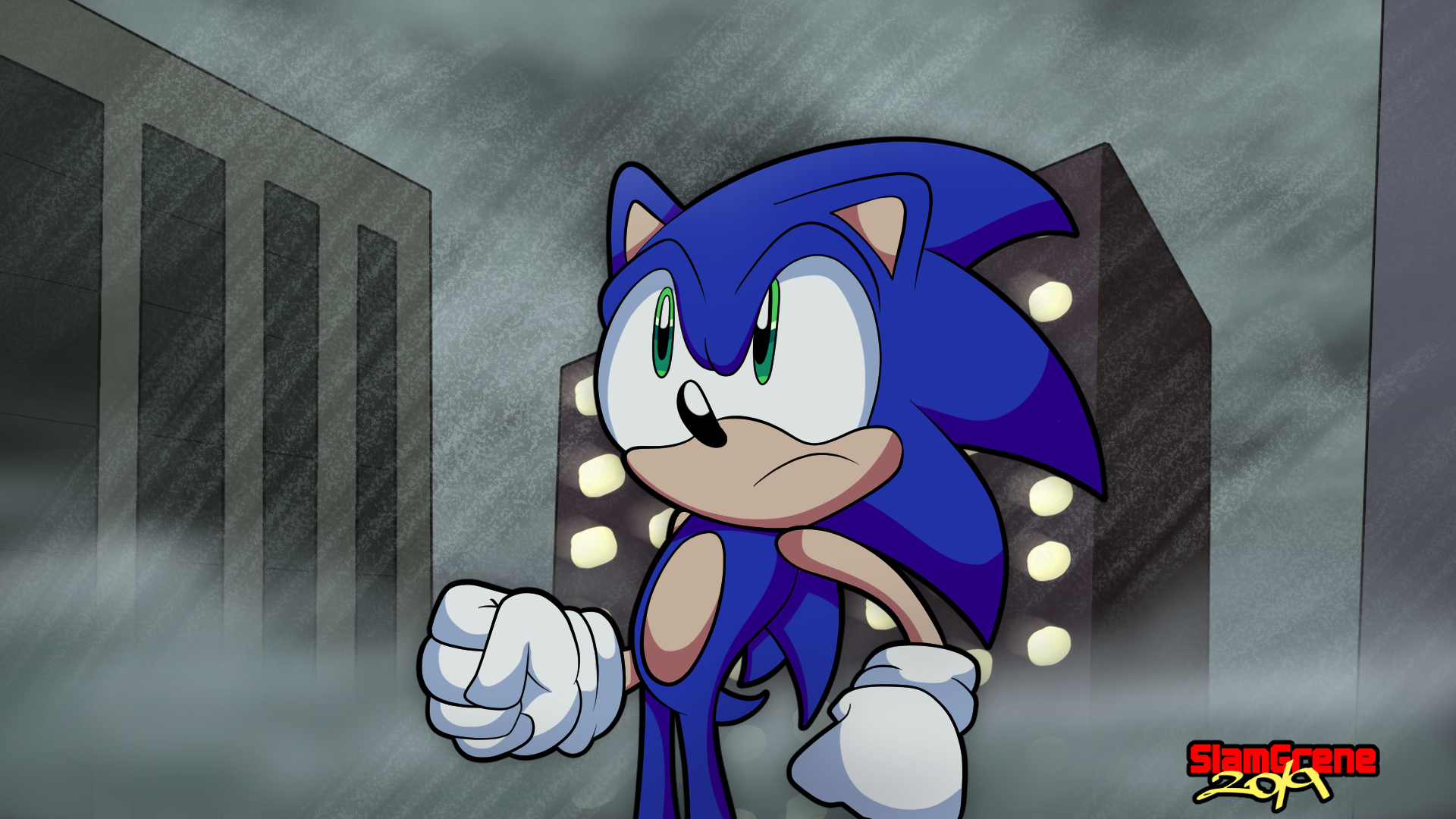Sonic in Soaked Station Square