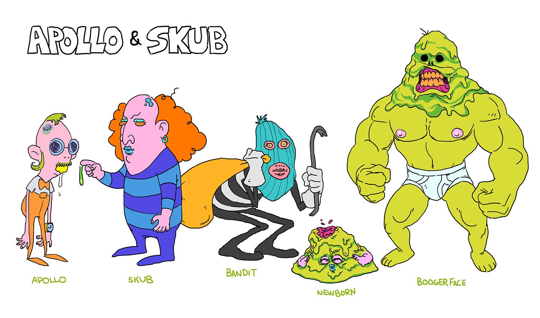 Apollo & Skub character sheets
