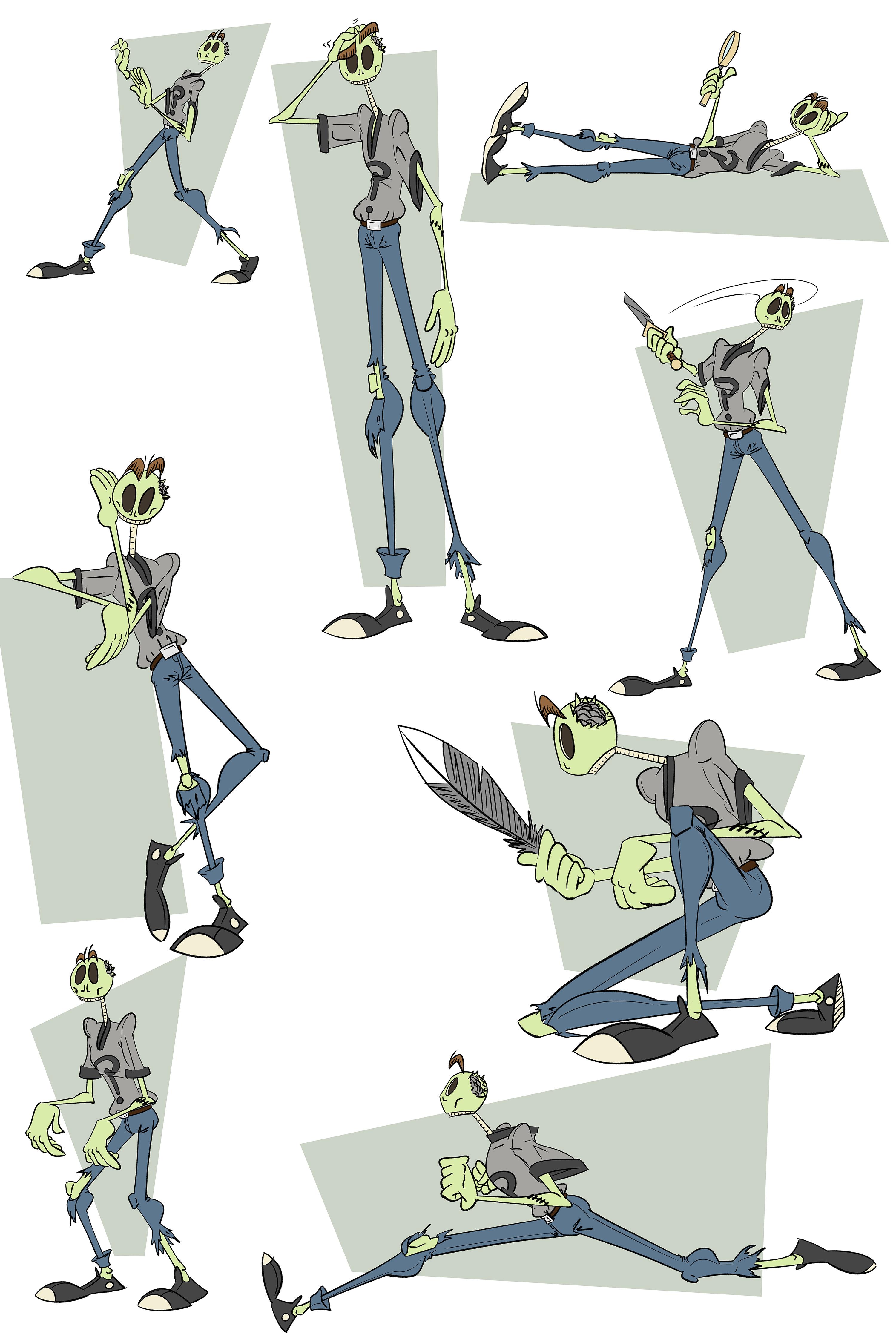 Zomboy Pose Reference Sheet (grey outfit)