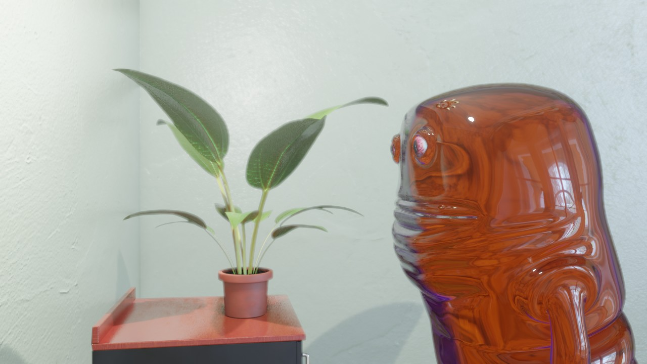 Jelly man looks at plant.