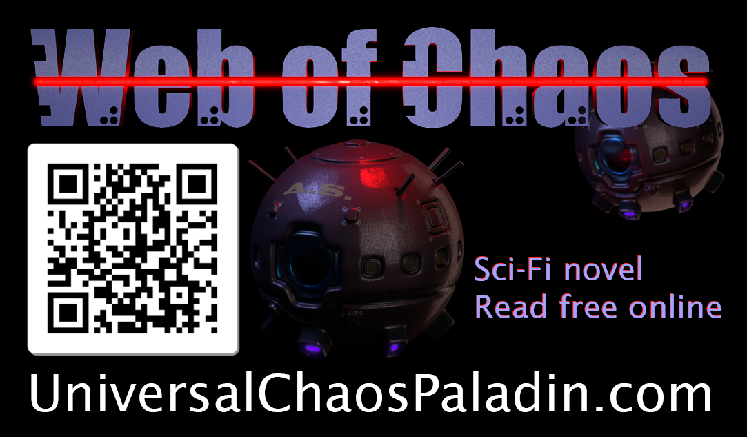 Business card. Link to Web of Chaos story