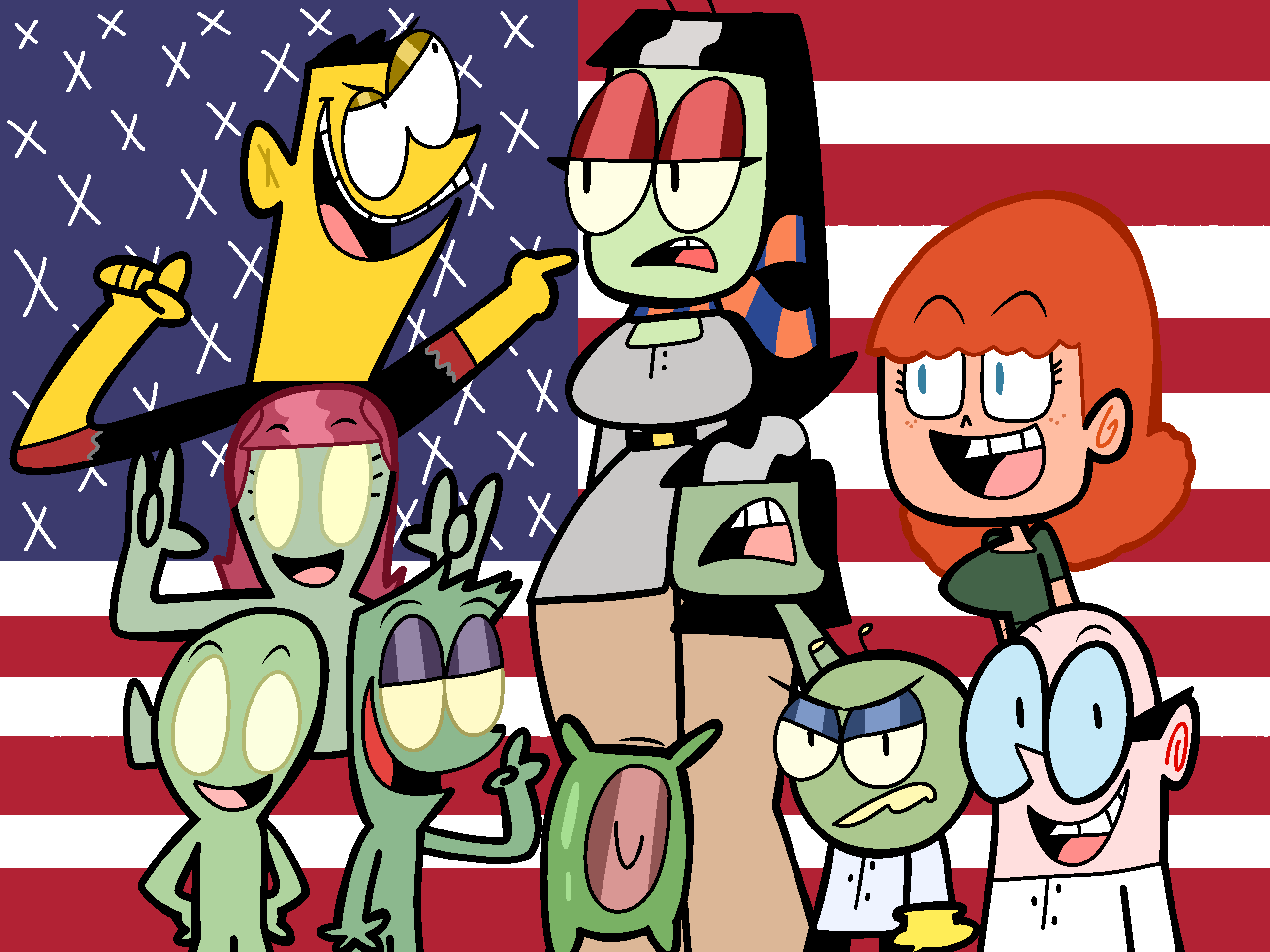 The stars of the Aquatinoids sing the National Anthem
