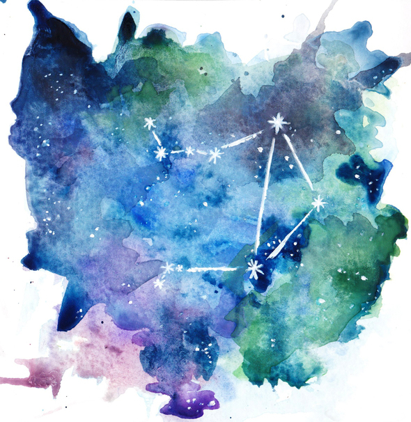 Libra Constellation Watercolor By Goldenyakstudio On