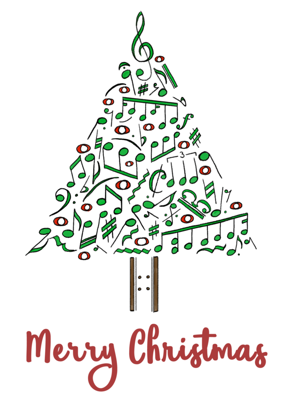 Musical Notes Christmas Tree Card By Goldenyakstudio On