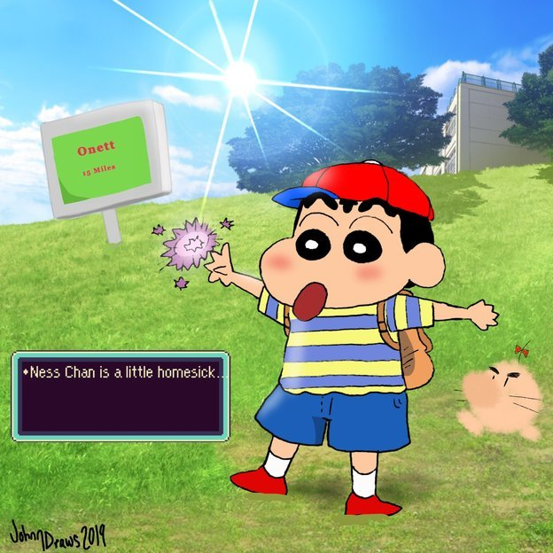 Earthbound X Crayon Shin Chan By JohnnDraws On Newgrounds