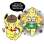 Detective Pikachu steals Isabelle's coffee
