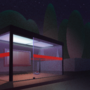 Bus station at night