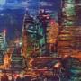 Acrylic Cyberpunk Skyline