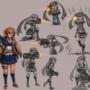 Marine girl sketches