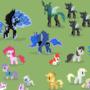 A bucnh of pixel ponies