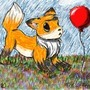 Fox and Balloon by AlbinoWolf