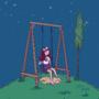 girl swinging in space