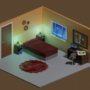 Isometric bedroom - 'work at nights'