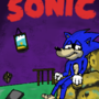 Sonic, sitting in a room