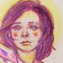 Portrait of a woman in color pencils