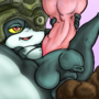 Futa Midna takes fat shit and strokes Wolf links cock