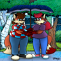 Rainy Day Foxes