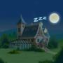 Pingouin & Raptor mansion at night