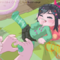 Vanellope gets a massage from Ralph