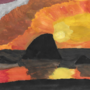 Sunset behind the sea rocks