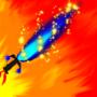 Blue flaming sword by nikkoluna