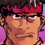 ryu with corny gradient and japanese text