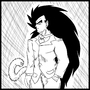 Scratch art of Raditz in suit