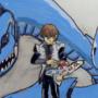 Seto Kaiba and his Blue-Eyes Ultimate Dragon