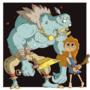 Smol barbarian and big ghoul