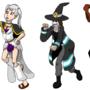 All Dark University characters in Halloween costumes