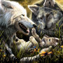 Wolf Family by E0NW0lf