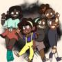 Jazmine, Giavanna, Kalani, and Estella (OCs) (made for blacktober 2020)