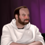 Rich Evans and a man in a hoodie