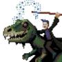 Just a wizard riding an undead t-rex.