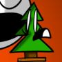 A man eating a miniature tree.