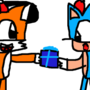 my oc(daniel) giving a present to classic sonic
