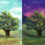 Tree day and night