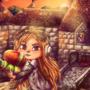 Meggy protecting Peach's castle